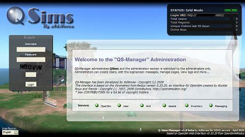 QS-Manager Admin homepage